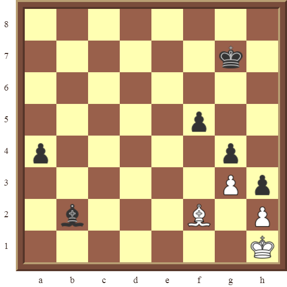 CHAPTER 13 ZUGZWANG/STALEMATE: Diagram 396 – White draws this losing position in 1 move or wins the black Bishop in 2 moves!