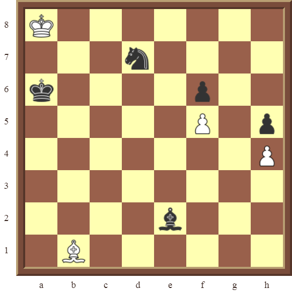 White draws this losing position in 1 move or wins the black Bishop in 2 moves