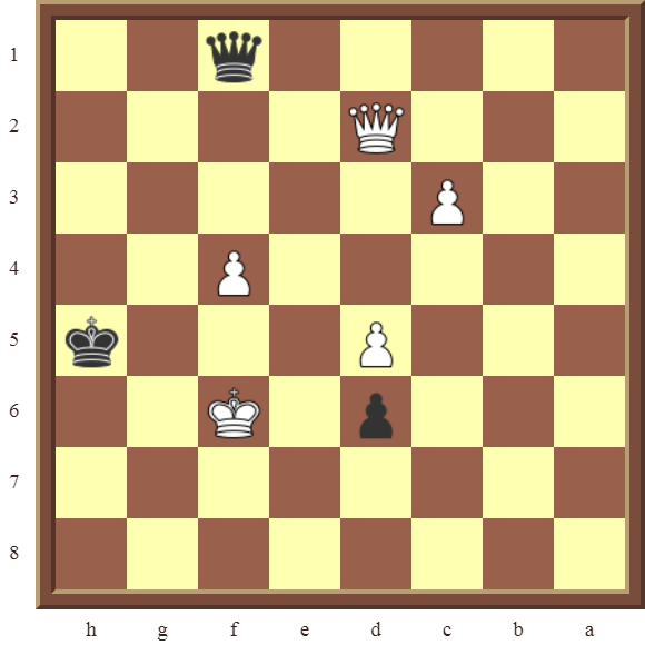 CHAPTER 13 ZUGZWANG/STALEMATE: Diagram 400 – Black draws this losing position in 1 move or wins the white Queen in 2 moves!