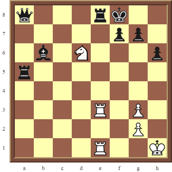 Back Rank Combinations: Diagram 43  – White checkmates in 2 moves.