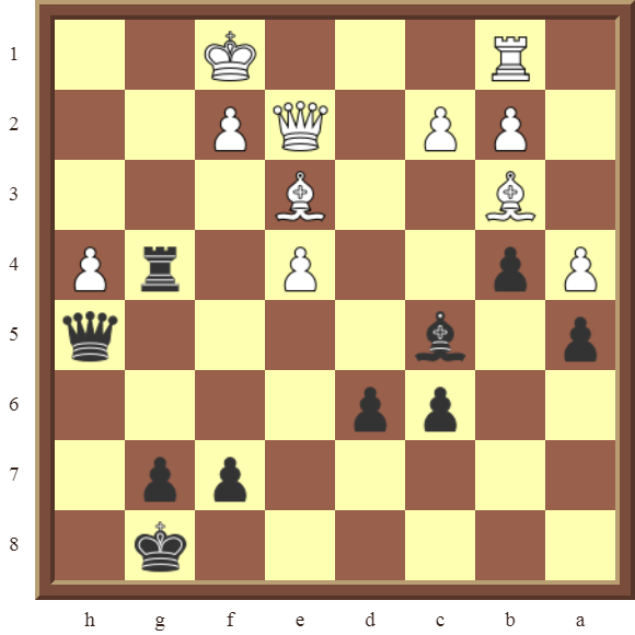 Black wins the white Qqueen for Rook in 2 moves
