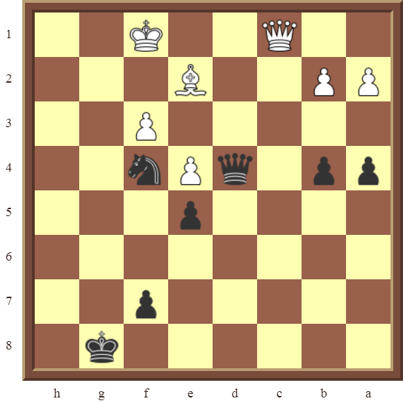 Black wins the white Bishop in 3 moves