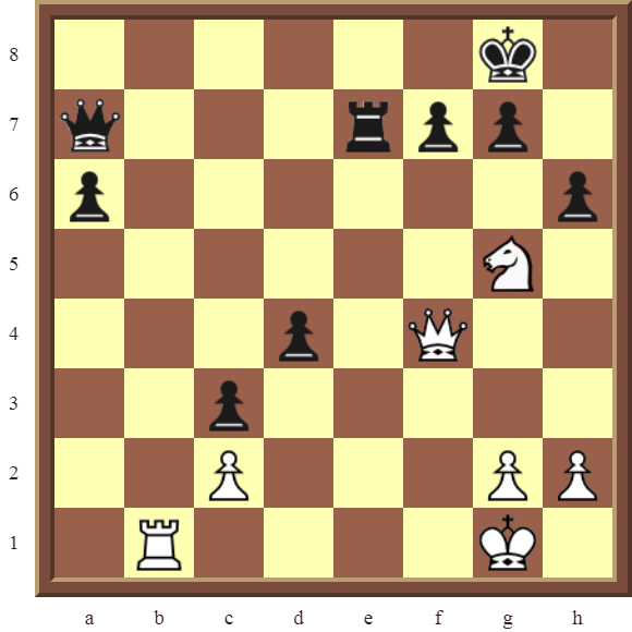 Back Rank Combinations: Diagram 45  – White checkmates in 3 moves.