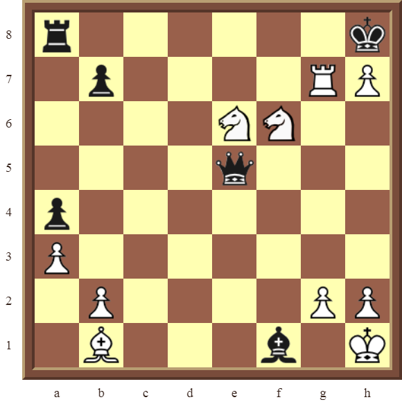 Back Rank Combinations: Diagram 51  – White checkmates in 2 moves.