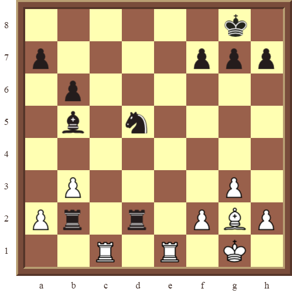 Back Rank Combinations: Diagram 53  – White checkmates in 2 moves.