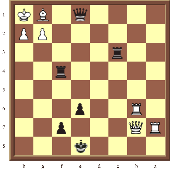 Back Rank Combinations: Diagram 57  – Black checkmates in 2 moves.