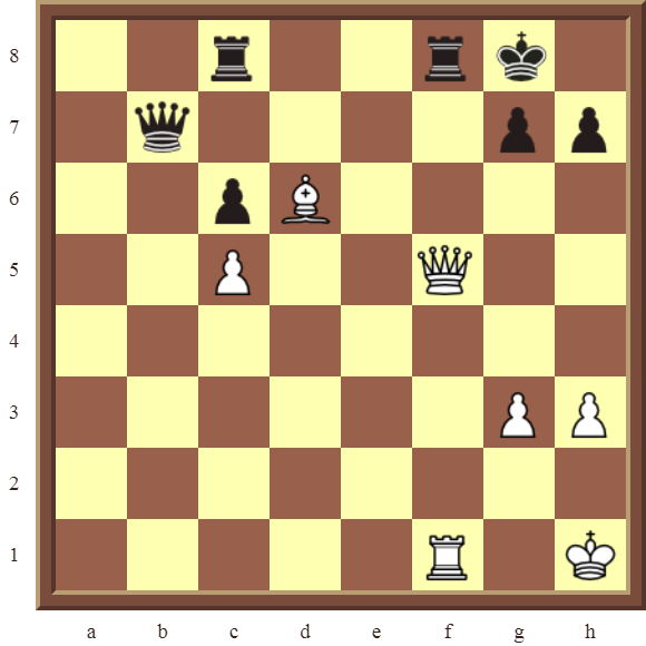 Back Rank Combinations: Diagram 58  – White checkmates in 2 moves.