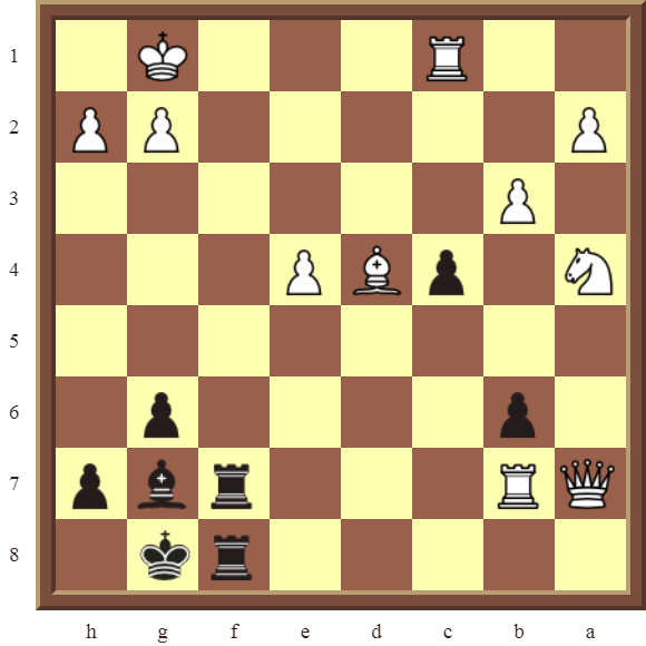 Back Rank Combinations: Diagram 59  – Black checkmates in 3 moves.