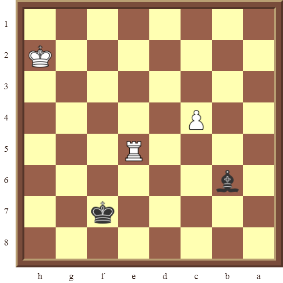 Diagram 6 PINS – Black wins the white Rook in 2 moves.