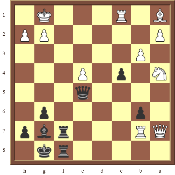 Back Rank Combinations: Diagram 60  – Black checkmates in 4 moves.
