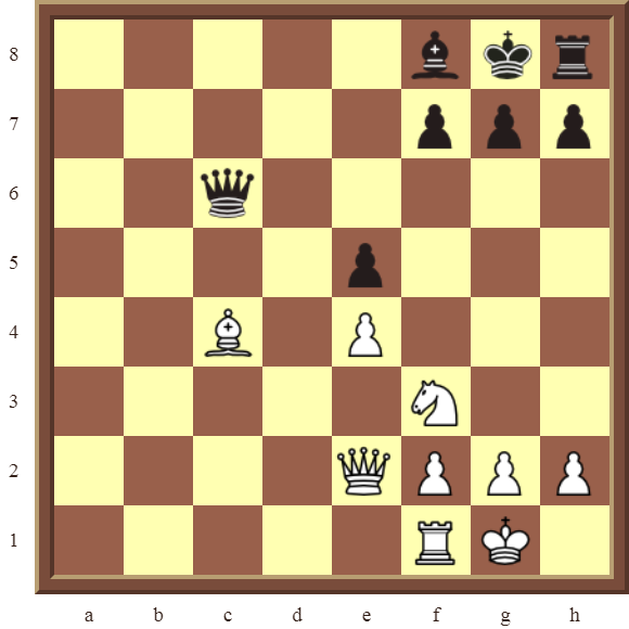 KNIGHT FORKS Diagram 66 – White wins the Queen and two pawns for a Bishop in 3 moves.