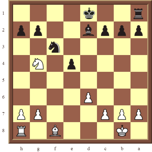KNIGHT FORKS: Diagram 70  – White wins the black pawn on d5 in 2 moves.