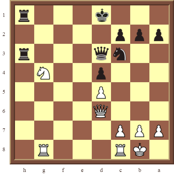 KNIGHT FORKS Diagram 72 – White wins the black Queen in 2 moves.