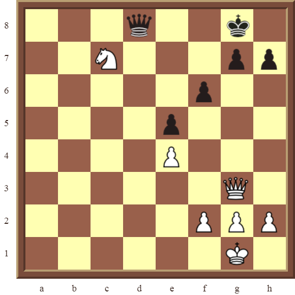 KNIGHT FORKS: Diagram 83  – White wins a pawn in 3 moves.