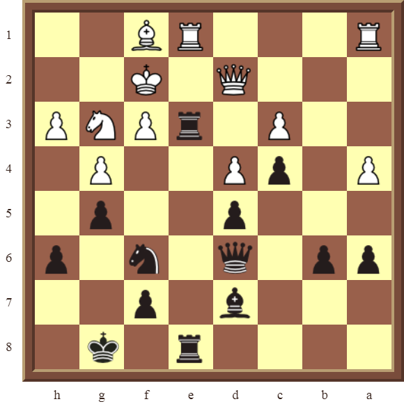 Black wins the white Knight in 3 moves