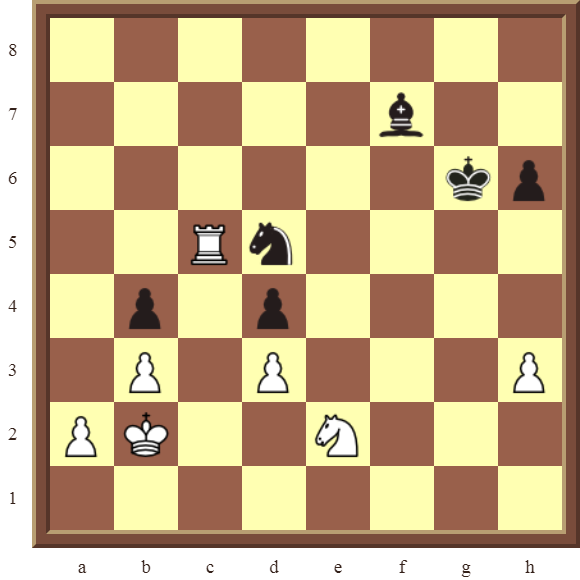 White wins the black Knight and Bishop for a Rook in 3 moves