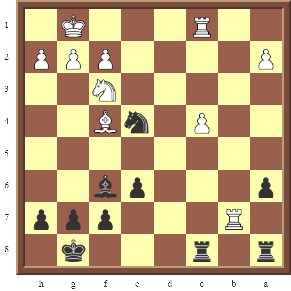 KNIGHT FORKS: Diagram 93  – Black wins a white Rook for a Knight or the white Bishop in 3 moves.