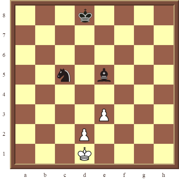 CHAPTER 4 OTHER FORKS/DOUBLE ATTACKS – Diagram 96  – White wins the black Bishop or Knight in 2 moves.