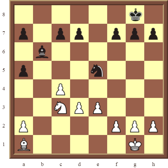 CHAPTER 4 OTHER FORKS/DOUBLE ATTACKS – Diagram 98  – White wins the black Bishop or Knight for one or two pawns in 3 moves.