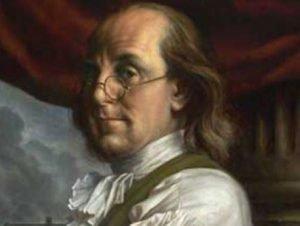 Ben Franklin portrait wearing spectacles