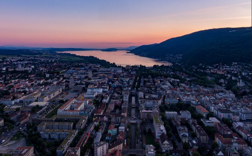 Biel Switzerland and Lake Biel at foothills of the the Jura Mountains