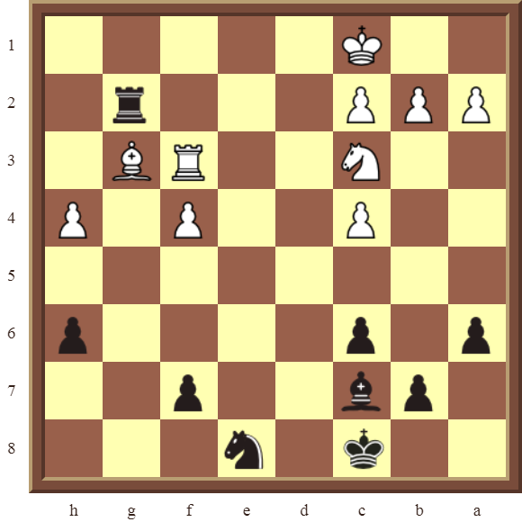 CHAPTER 4 OTHER FORKS/DOUBLE ATTACKS – Diagram 117  – Black wins the white Bishop in 3 moves.