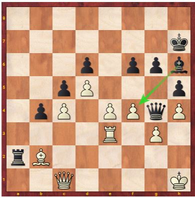 Carissa plays 39. ... Qxf4 sacrificing her Bishop for win