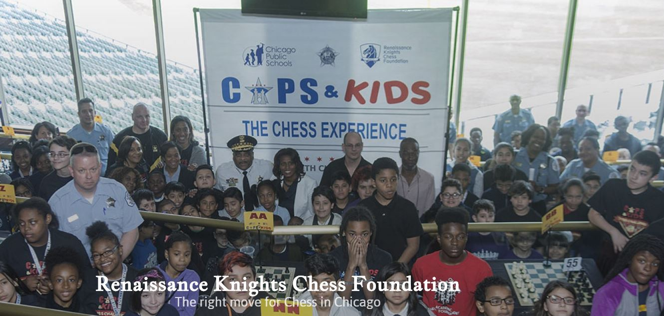 Chicago Chess Cops & Kids group photo with caption at bottom