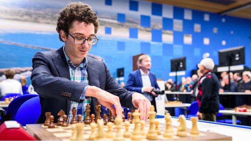 Fabiano Caruana sitting at chessboard #2 in World February 2020