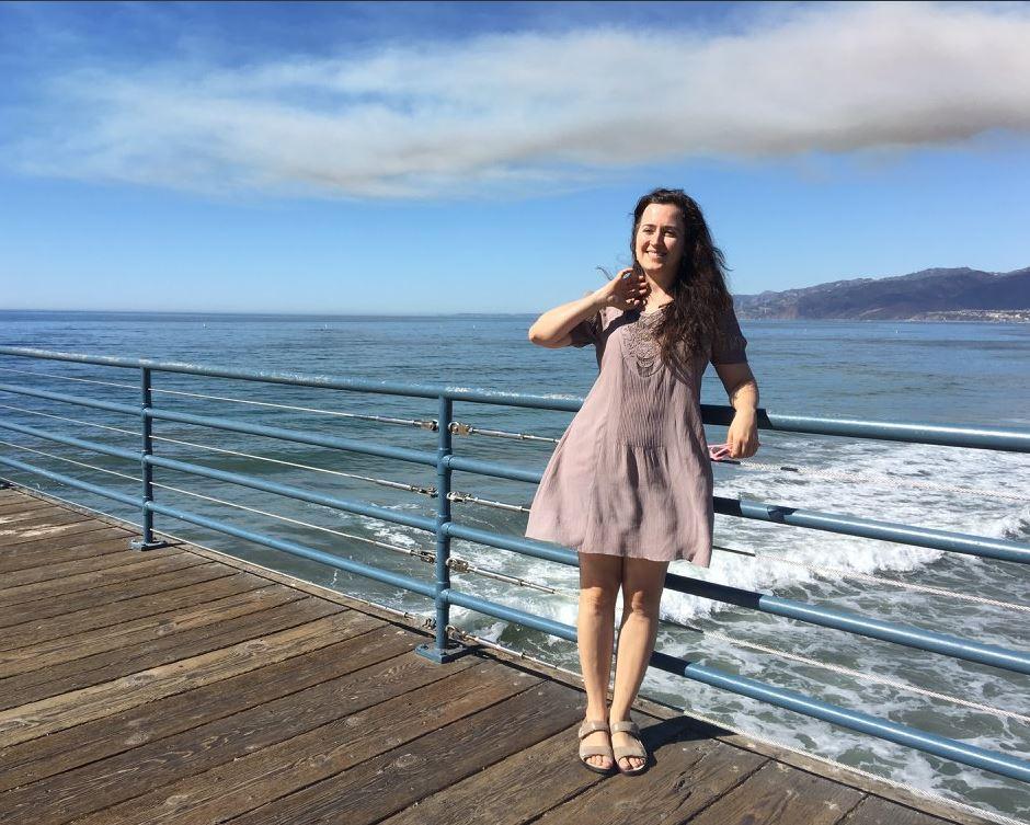 Irina on the Santa Monica pier in California