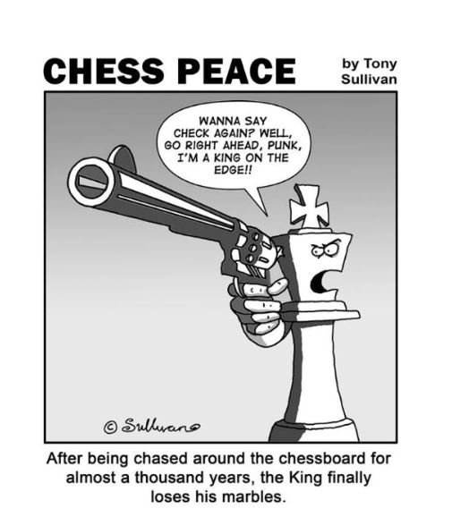"""The King Loses His Marbles"" -from Tony's new ""CHESS PEACE"" Book"