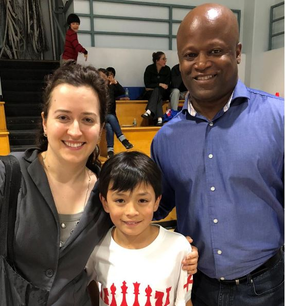 Oliver Boydell with GM Irina Krush and GM Maurice Ashley