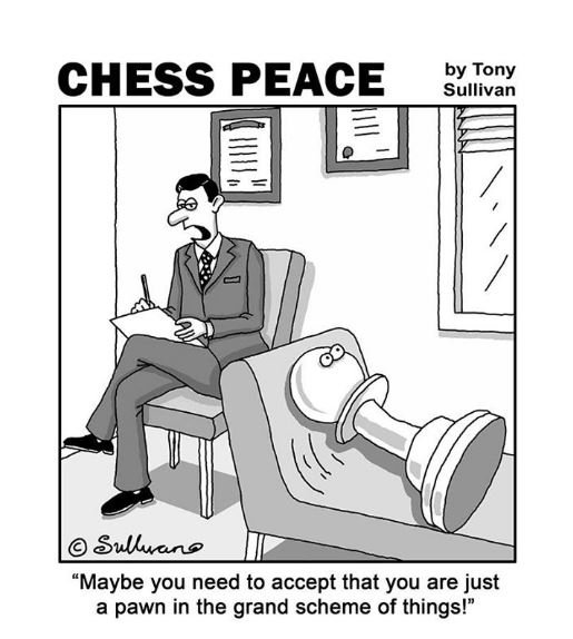 "A Pawn on the Psychiatrist Couch! -from Tony's new ""CHESS PEACE"" Book"