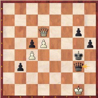 Position after Carissa plays 57 ... Qg3+
