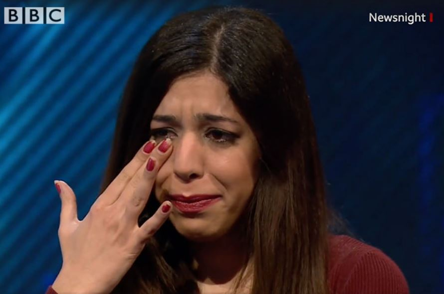 Shohreh Bayat without hijab crying in BBC interview