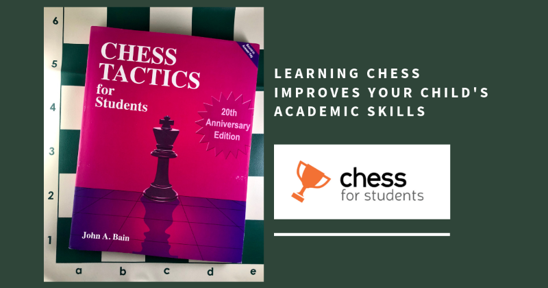 Tactics book on green board. Chess improves academics.